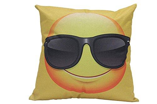 funny cat Niedlichen Cartoon Emoji Wear Sonnenbrille Gesicht Emoticon Kissenbezug Weiche Quadratische Mode Emoji Gesicht Kissenbezug Zwei Seiten Hause Dekorative Liebhaber Familien Freunde, 45X45 cm