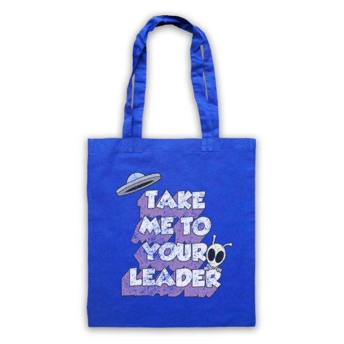 Take Me To Your Leader Funny Slogan-Borsa Sci Fi Blu