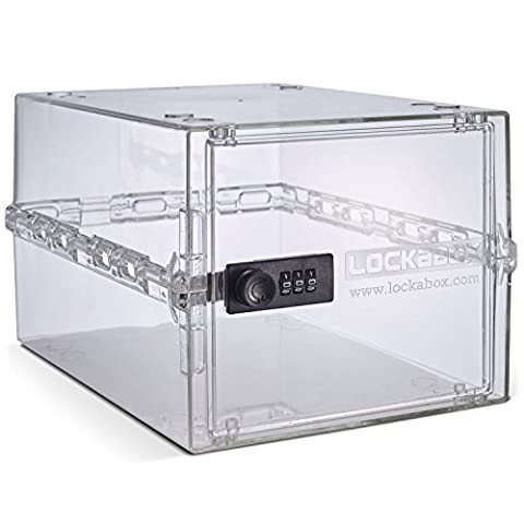 LOCKABOX Crystal Clear - Secure Home Safety Box | Food, Medicines and Household items | Fridge and Freezer Safe | Portable, Hygienic and Versatile - L 31 x W 21x H 17 cm | Made In Britain