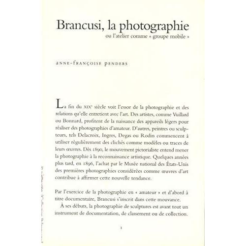 Brancusi, la photographie, ou, L'atelier comme 'groupe mobile'