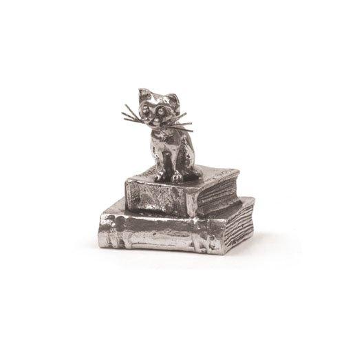 Chaton sur 2 livres Miniature - Figurine en étain 95,5% - Fabriqué en France - Objet déco - Cadeau livre