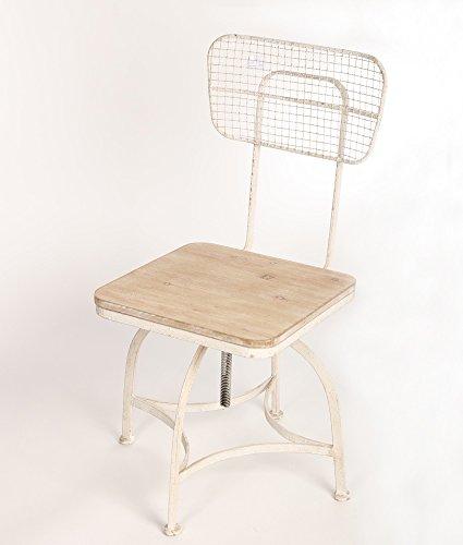 Metallstuhl für Esszimmer fm Shabby Chic-Stil und Weißer Farbe Holzsitz Einstellbare Höhe 89 - 105 x 40 x 40 cm A24