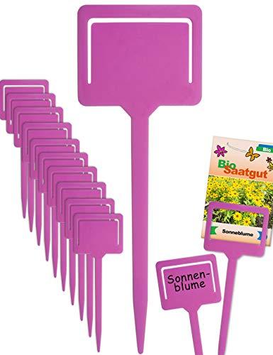 HomeTools.eu® - 10 Pflanz-Schilder   Steck-Etiketten Pflanzen-Stecker   Kunststoff beschreibbar, mit Klemme für Saatgut-Beutel, Wetter-fest   18cm, pink
