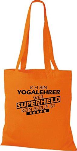 Stoffbeutel Ich bin Yogalehrer, weil Superheld kein Beruf ist Orange