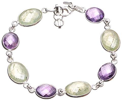 StarGems(tm) Natural Prehnite and Amethyst Handmade Vintage 925 Sterling Silver Tennis Bracelet 7 1/2-8