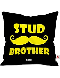 Indigifts Stud Brother Quote Printed Black Cushion Cover 12x12 with Filler