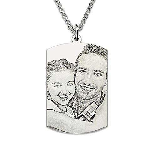 Bo&Pao Kette Damen Halskette mit Fotogravur und Textgravur 925 Sterling Silber,Unisex Kette mit personalisierte Foto Dog-Tag Anhänger