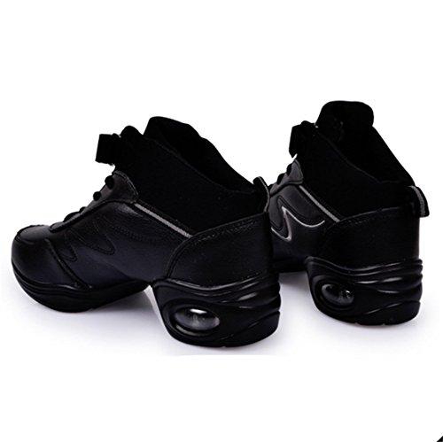 TMKOO Nuove scarpe da ballo in pelle femminile morbide alla fine delle scarpe da ballo da donna Scarpe da danza scarpe quadrate Black And Gray