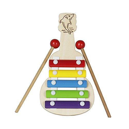 Festnight Glockenspiel, Gitarre Gestalten 5 Hinweise Xylophon mit 2 Schlägel Musical Spielzeug Geschenk für Kinder Lehrreich Schlagzeug Instrument