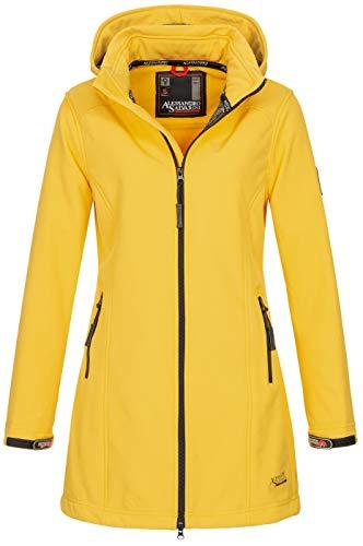 A. Salvarini Damen Softshell Jacke wasserabweisend Outdoor lang AS-131 [AS-131-Gelb-Gr.L]
