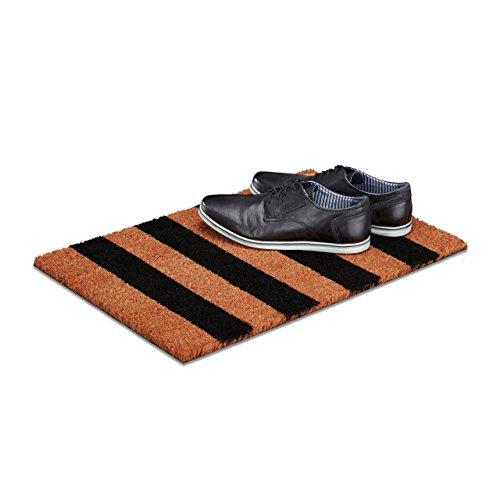 Relaxdays Fußmatte Streifen aus Kokos, HxBxT: 1,5 x 60 x 40 cm gestreift, rutschfest, Gummi, Kokosfaser, braun-schwarz
