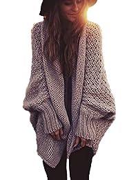 Manteau en Tricot Femme Automne Élégant Mode Vêtements Cardigan Manches  Longues Chauve-Souris Uni Manche 73dfbbe4368c