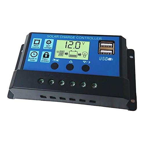 ZHUOTOP Caricabatterie Regolatore Pannello Solare 30A 12V 24V Regolatore Batteria Dual USB Display LCD Nuovo