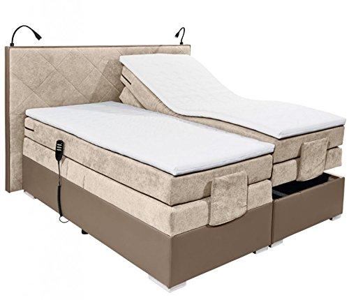 Froschkönig24 TRENTON 2 Boxspringbett 180x200cm Bett elektrisch verstellbar Doppelbett Beige