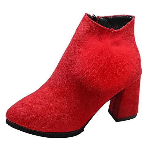 Riou Damen Wildleder Stiefeletten Fell Ball Dick mit Hohen Absätzen Herbst Winter Elegant Freizeit Ankle Kurz Arbeits Stiefel Damenschuhe (40 EU, Rot)