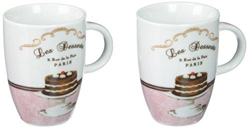 Lot de 2 tasses à expresso avec soucoupes en porcelaine dans un coffret cadeau motif les de desserts pPD
