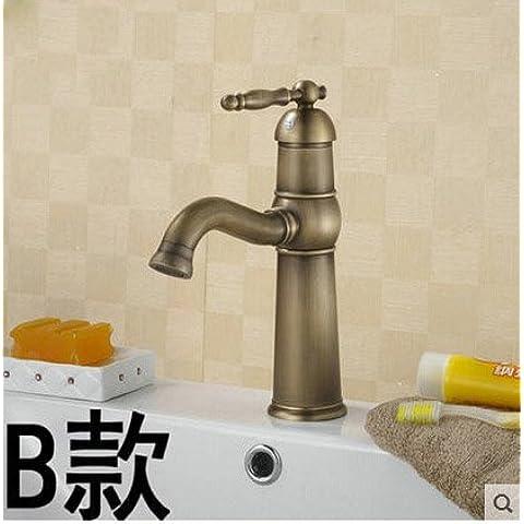 LYNDM Bagno Bagno Vintage rubinetto singola maniglia Deck Monte Conca recipiente miscelatore lavello rubinetti in ottone antico finitura,stile