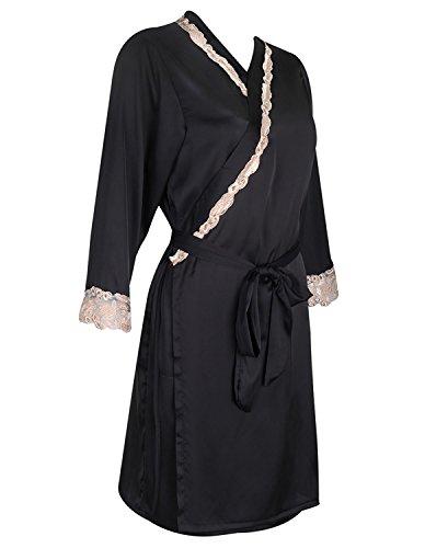 Burvogue Damen Kimono Satin Morgenmantel Schwarz