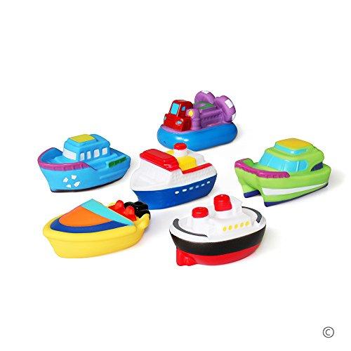JUNSHEN Badespielzeug Geschenkset(6PCS) Mit Kostenlos Aufbewahrungstasche,Bad Boot Spielzeug,Bath Boat Toys,Schwimmenden Boot Badespaß Zeit Großes Geschenk für Baby
