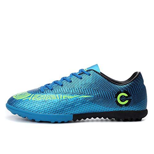 Scarpe da Calcio,Unghie Rotte Moda All'Aperto Scarpe da Calcio per Adulti Giovani Scarpe da Corsa Formazione Antiscivolo, 49_Blu