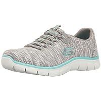 Skechers Women's Sport Empire - Rock Around Relaxed Fit Fashion Sneaker 7.5 M US Gray/Light Blue