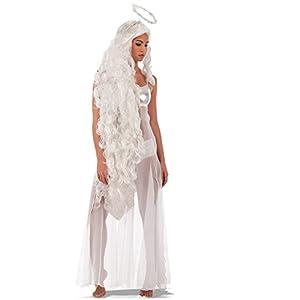 Carnival Toys - Peluca larga ángel con aureola en maletín, 150 cm, color blanco (737)