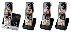 """Panasonic KX-TG6724. Tipo: Teléfono DECT. Altavoz. Capacidad de lista de direcciones: 100 entradas. Identificador de llamadas. Diagonal de la pantalla: 4,57 cm (1.8""""). Color del producto: Negro. Número de teléfonos móviles incluidos: 4 Memoria -Capac..."""