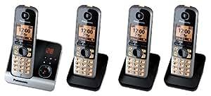 Panasonic téléphone sans fil avec répondeur (version allemande!) KX-TG6724GB - Quadro noir, 1,8 Zoll Displ., Smart-Taste pour schnelle Rufannahme, vollwertiger reveil, Nachtmodus + AB avec 30 Min Aufnahmezeit + Smart-Taste pour schnelle AB-Abfrage + 3 zusätzliche extra combiné supplémentairee + Chargeur de tablen