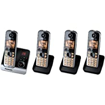 """Panasonic KX-TG6724GB Quattro - Teléfono inalámbrico (pantalla de 1,8"""", tecla de función, manos libres, incluye 3 terminales adicionales), negro [Importado de Alemania]"""