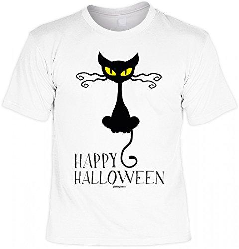 sex T-Shirt - Katze: Happy Halloween - Coole Geschenk-Idee zur gruseligsten Zeit Des Jahres in Farbe: Weiss, Größe:4XL (Katze Halloween Outfit Ideen)