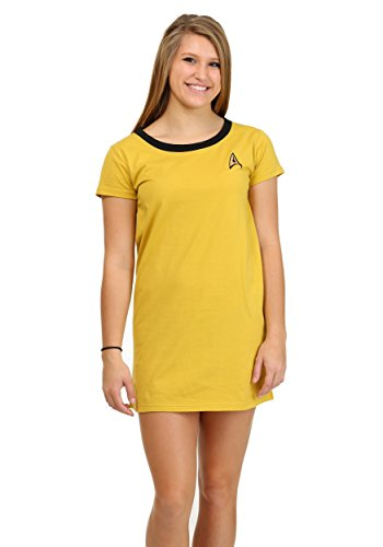 Star Trek Captain Kirk Women's Sleep Shirt X-Small (Captain Gold Shirt Kirk)