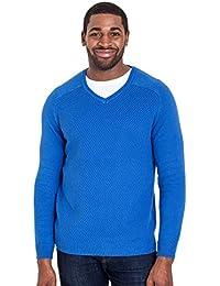 WoolOvers Pull texturé à col V - Homme - Coton & Soie