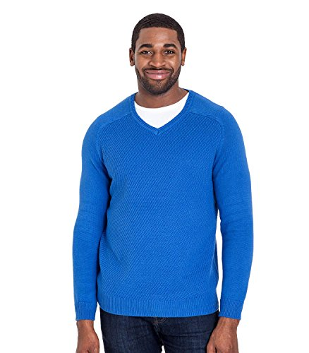 WoolOvers Strukturierter Pullover mit V-Ausschnitt aus Baumwolle-Seide für Herren Cobalt Blue