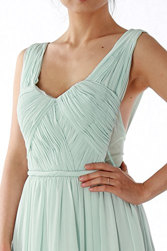 MACloth Women Straps V Neck Chiffon Long Prom Homecoming Dress Formal Party Gown Champagner