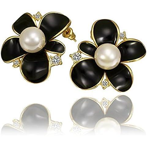 Perla di Faux floreali Orecchini, Perla floreale orecchini per donne, ragazze