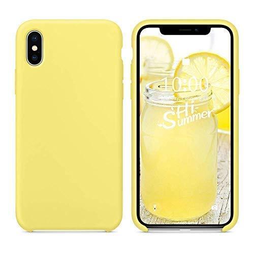 SURPHY iPhone XS Silikon Hülle, iPhone X Hülle,Schutzschale vor Stürzen und Stößen Silikon Handyhülle für Apple iPhone XS(2018) iPhone X(2017) 5,8 Zoll, Zitronengelb