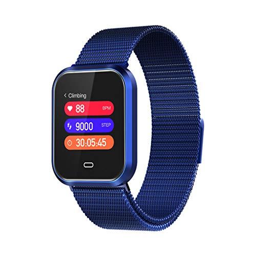Happysdh Wasserdichte Smart Watch Q7S Fitness Armband-Uhr für Männer und Frauen - IP67 Fitness Tracker mit Herzfrequenz, Schrittzähler - Schlaf-Monitor, Anrufbenachrichtigung, Kalorienzähler (Blau) (Herzfrequenz-monitor Wandern)