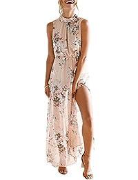 f4435579dbf0 Jnday Abito da Spiaggia Hawaiane Lunghe Vestito Floreale Senza Maniche  Abito da Sera Vernice Eleganti Abito