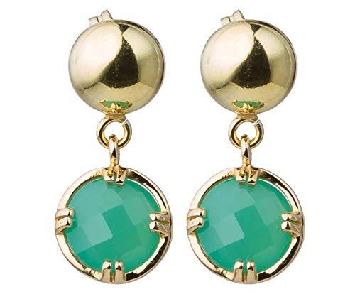 Gemshine Damen Ohrringe mit grünen Chalcedon Edelsteinen. 925 Silber oder hochwertig vergoldet - Nachhaltiger, qualitätsvoller Schmuck Made in Spain, Metall Farbe:Silber vergoldet