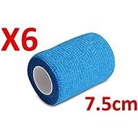 No más pobres adherencia.–Venda Azul estirada 6rollos x 7,5cm x 4,5m autoadhesivas vendaje Flexible, calidad profesional, primeros auxilios Deportes Wrap Vendas–Pack de 6