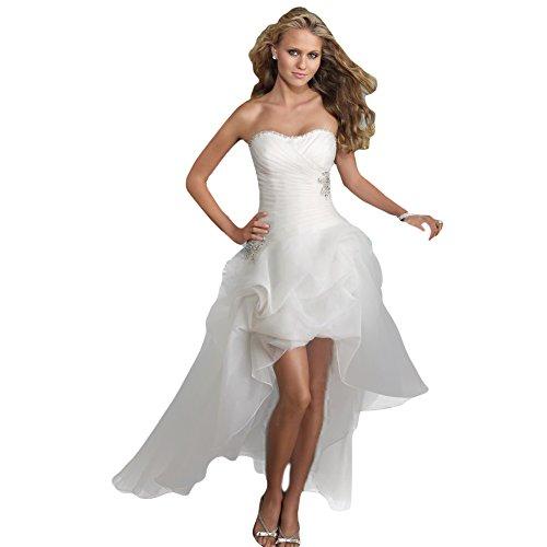 WeWind Damen Süßes Hochzeitskleid Trägerlos Organza Brautkleid Schleppe Kurz (S)