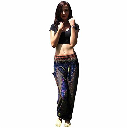 Moonuy,Männer Frauen Hosen, Casual Frühling täglich tragen, Temperament Vintage Britches, Thai Harem Hosen Boho Festival Hippie Kittel hohe Taille Yoga Hosen, Baumwolle Yoga Sport Hosen (DunkelBlau) (Groß Und Hoch Levis)