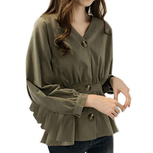 Haughtily Mode Frauen Knöpfe Hemd Dünne Taille V-Ausschnitt Langarm Langarm Knopf Manschette Jacke Bluse Solide Casual Tops -