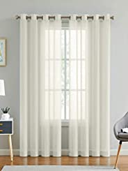 Linenwalas Cotton Linen Solid Sheer Curtain Set with Eyelet Rings Non Blackout Window Curtain - Set of 2 -Natu