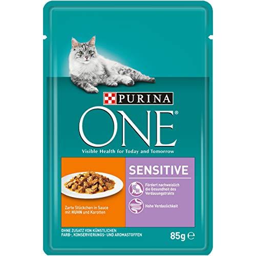 Purina ONE Katzennassfutter, hochwertige Katzennahrung, reich an Vitaminen und Mineralstoffen, 24er Pack (24 x 85 g Beutel) - Futter Hühner Napf