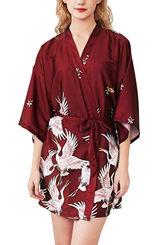 YAOMEI Mujer Vestido Kimono Satén