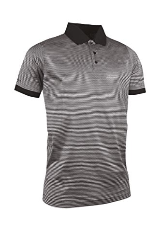 Glenmuir Herren Rib Cuff schmal Stripe mercerisierte Baumwolle Golf Polo Shirt Gr. X-Large, schwarz/weiß - Mercerisierte Baumwolle Golf Shirt