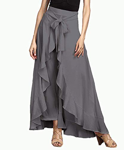 SBJ COLLECTIONS Women' Rayon Ruffle Pants Split High Waist Maxi Long Crepe Palazzo Overlay Pant Skirt (Grey, Free Size)