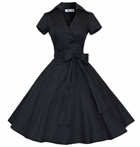 Rétro Vintage années 50 's Style Audrey Hepburn Rockabilly Robe de Swing Bal à Manches Courtes Noir