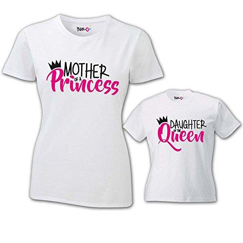 Coppia di t-shirt magliette mamma e figlio/figlia idea regalo festa della mamma son/daughter of a queen t-shirt bianche mamma e femminuccia donna s - bimbo 3-4 anni